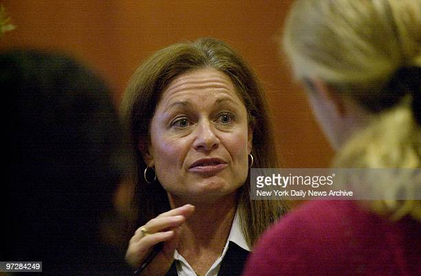 Janet Albertson prosecutor in the Daniel Pelosi murder trial talks to reporters