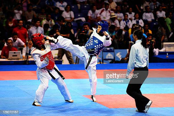 Janet Alegria of Mexico and Johanys Tejeda of the Puerto Rico during the Taekwando women's under 49kg of the 2011 XVI Pan American Games at Code II...