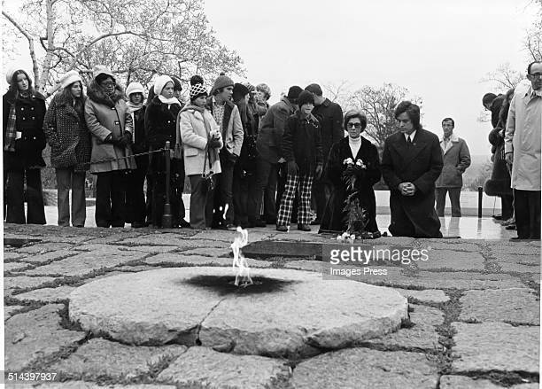 Janet Auchincloss at the grave site of John F Kennedy in the Arlington National Cemetery in Arlington County Virginia on the anniversary of his...