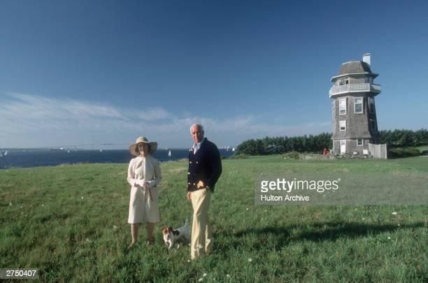Janet Auchincloss mother of Jaqueline Kennedy Onassis with her stepson Hugh D Auchincloss III at Hammersmith Farm Newport Rhode Island August 1987