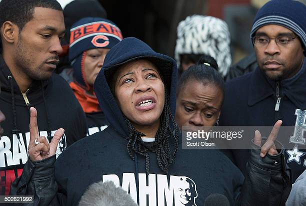 Janet Cooksey speaks to the press about the death of her son Quintonio LeGrier before the start of a vigil on December 27 2015 in Chicago Illinois...