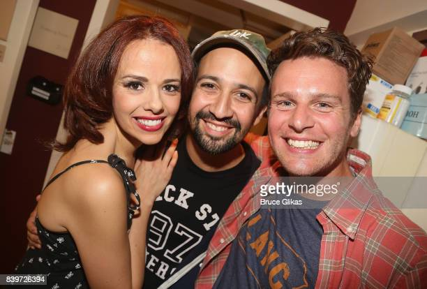 Janet Dacal Lin Manuel Miranda and Jonathan Groff pose backstage at the hit new musical 'Prince of Broadway' on Broadway at Manhattan Theatre Club's...