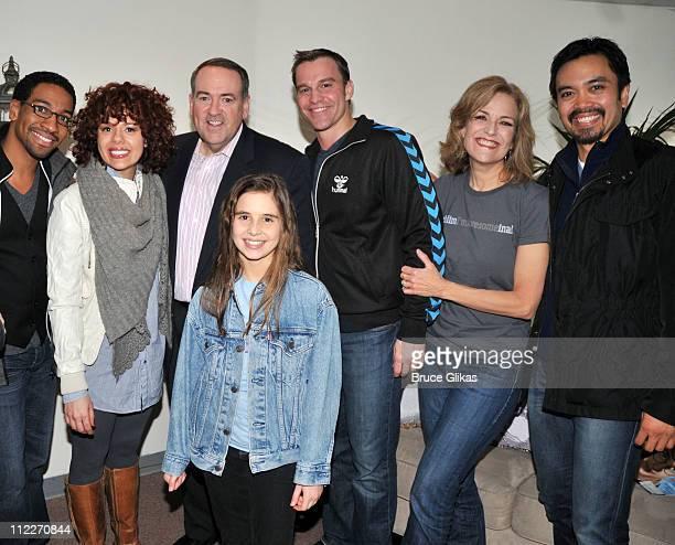 "Janet Dacal, Mike Huckabee, Carly Rose Sonenclar, Darren Ritchie, Karen Mason and Jose llana pose backstage at the hit musical ""Wonderland"" on..."