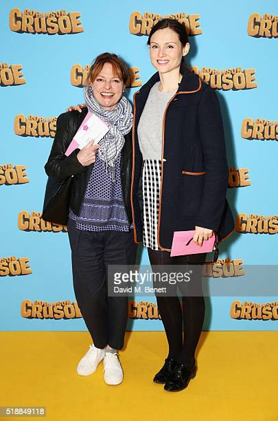 Janet Ellis and Sophie EllisBextor attend a VIP screening of 'Robinson Crusoe' at the Vue West End on April 3 2016 in London England