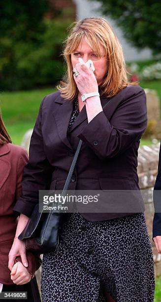 Janet Ellis leaves the Funeral of Caron Keating following her death from breast cancer last week at Hever Church in Edenbridge on April 20 2004 in...