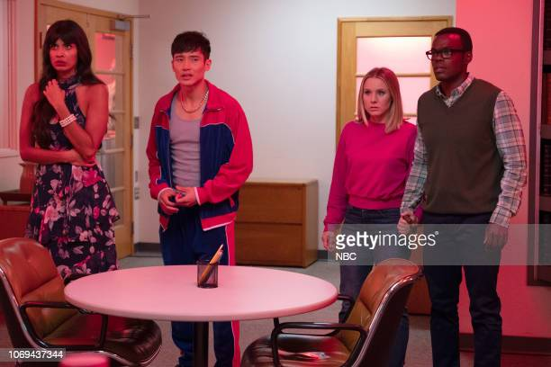 "Janet "" Episode 310 -- Pictured: Jameela Jamil as Tahani, Manny Jacinto as Jason, Kristen Bell as Eleanor, William Jackson Harper as Chidi --"
