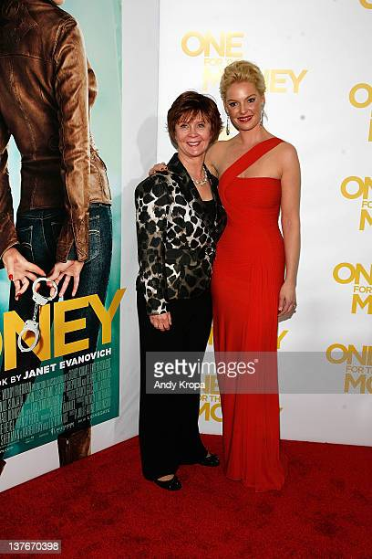 Janet Evanovich and Katherine Heigl attend the One for the Money premiere at the AMC Loews Lincoln Square on January 24 2012 in New York City