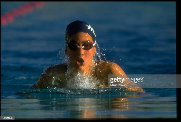 Janet Evans during the U.S. Swim Nationals. Mandatory credit: Mike Powell/Allsport