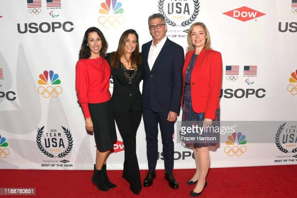Janet Evans, Laura Z. Wasserman, Casey Wasserman, and United States Olympic Committee CEO Sarah Hirshland attend the 2019 Team USA Awards at...