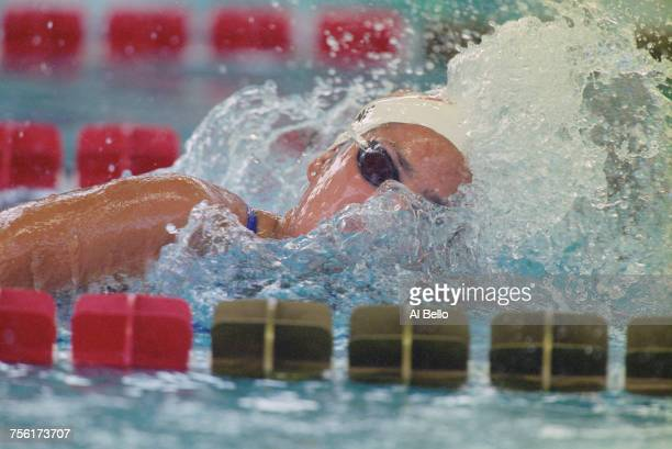Janet Evans of the United States competes in the Women's 800 metres Freestyle event at the XXVI Summer Olympic Games on 25 July 1996 at the Georgia...