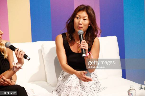 """Janet Francis speaks during """"Loosely Connected Podcast Taping"""" during POPSUGAR Play/Ground at Pier 94 on June 23, 2019 in New York City."""
