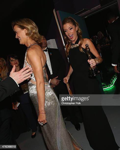 Janet Friesen and producer Caitrin Rogers, winners of Best Documentary, Feature backstage during the Oscars held at Dolby Theatre on March 2, 2014 in...