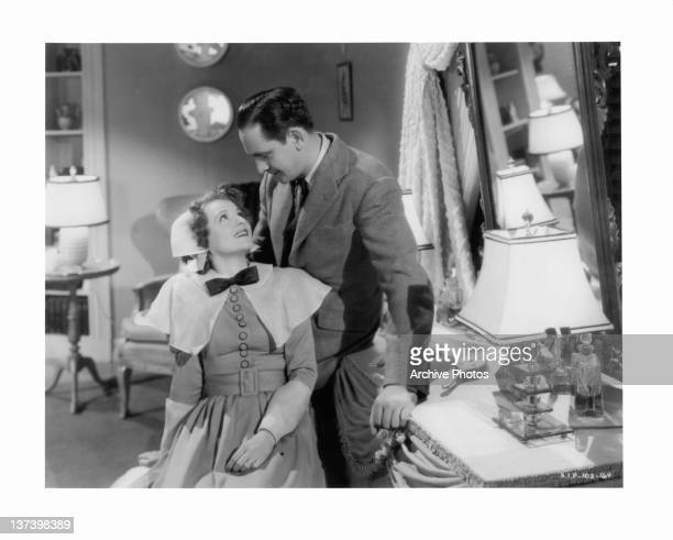 Janet Gaynor looking up at Fredric March in a scene from the film 'A Star Is Born' 1937
