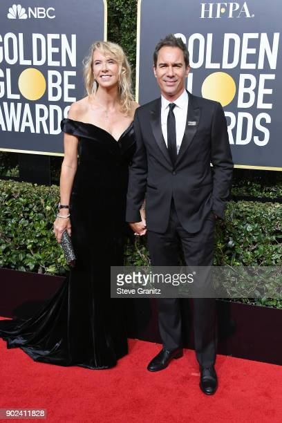 Janet Holden and Actor Eric McCormack attend The 75th Annual Golden Globe Awards at The Beverly Hilton Hotel on January 7 2018 in Beverly Hills...