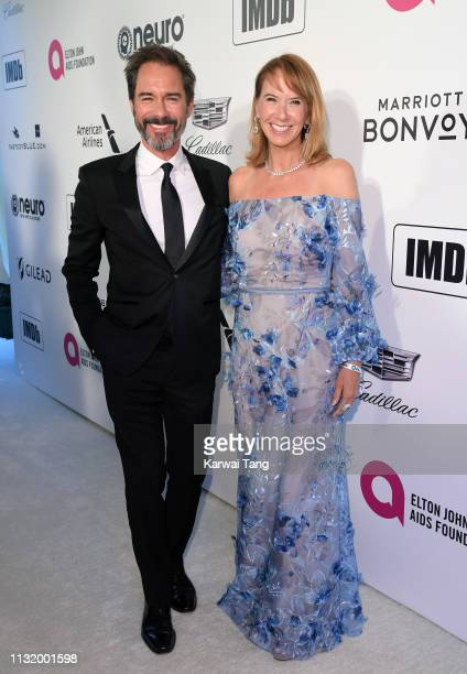 Janet Holden and Eric McCormack attend the 27th annual Elton John AIDS Foundation Academy Awards Viewing Party Celebrating EJAF And The 91st Academy...