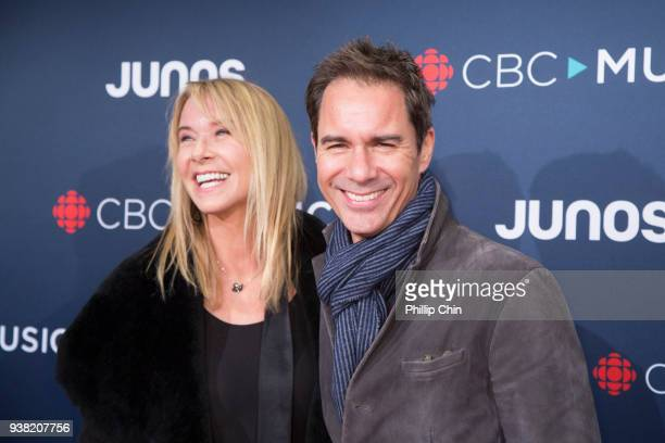 Janet Holden and Eric McCormack attend the red carpet arrival at the 2018 Juno Awards at Rogers Arena on March 25 2018 in Vancouver Canada