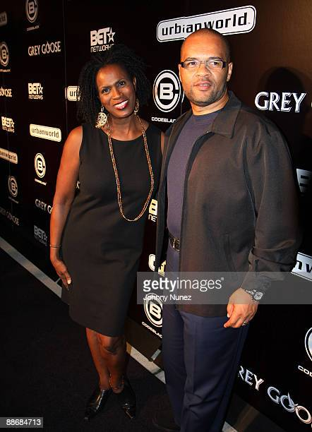 Janet Hubert and Jeff Clanigann attend the Urban World Film Festival opening night party at the Hudson River Cafe on September 10 2008 in New York...