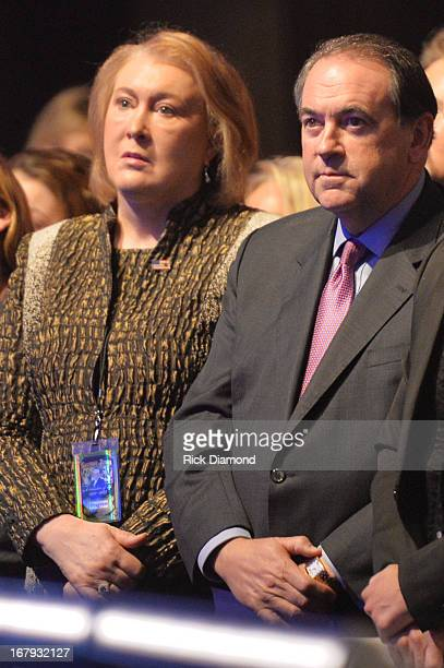 Janet Huckabee and former Arkansas governor Mike Huckabee attend the funeral service for George Jones at The Grand Ole Opry on May 2 2013 in...