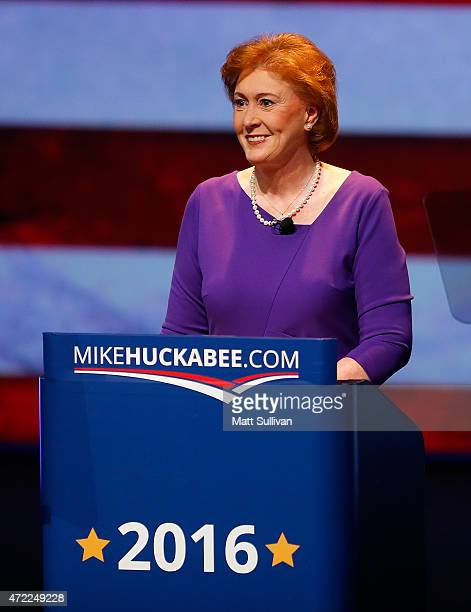 Janet Huckabee wife of former Arkansas Governor Mike Huckabee speaks to the audience before Mike Huckabee announces his candidacy for the 2016...