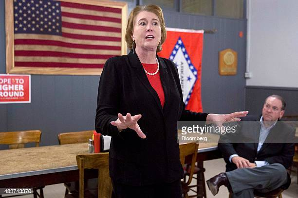 Janet Huckabee wife of Mike Huckabee former governor of Arkansas and 2016 Republican presidential candidate center introduces Huckabee right before...