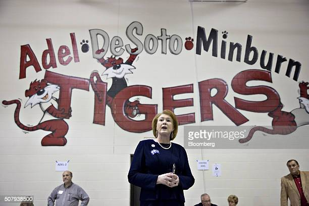 Janet Huckabee wife of Mike Huckabee former Governor of Arkansas and 2016 Republican presidential candidate speaks to republican voters in the...