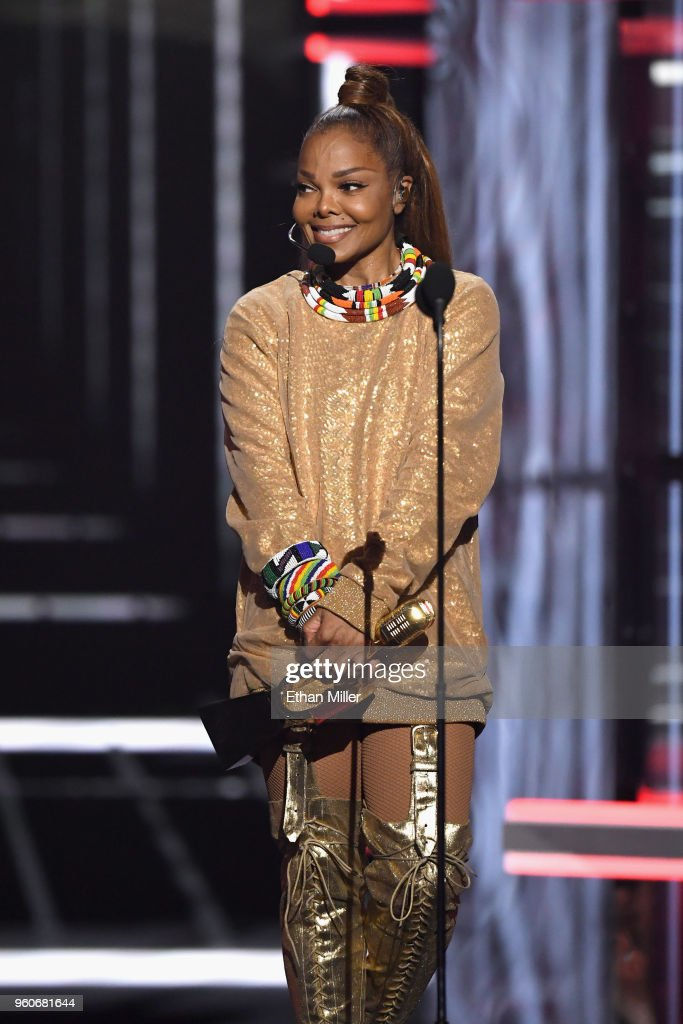 Recording artist Janet Jackson speaks onstage during the 2018 Billboard Music Awards at MGM Grand Garden Arena on May 20, 2018 in Las Vegas, Nevada.