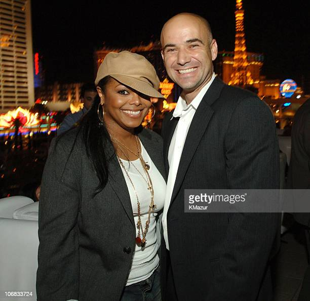 Janet Jackson and Andre Agassi during The Andre Agassi Charitable Foundation's 10th Annual 'Grand Slam for Children' Fundraiser PreParty Hosted by...