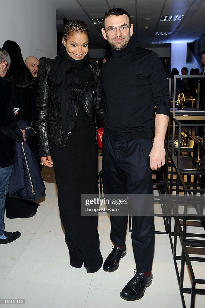Janet Jackson and Francesco Russo attend the Sergio Rossi presentation cocktail during Milan Fashion Week Womenswear Fall/Winter 2013/14 on February 21, 2013 in Milan, Italy.