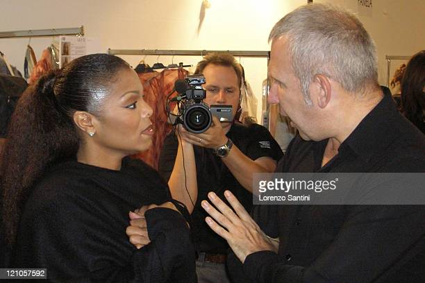 Janet Jackson and JeanPaul Gaultier during Paris Fashion Week Spring Summer 2007 Hermes Backstage at Paris in Paris France