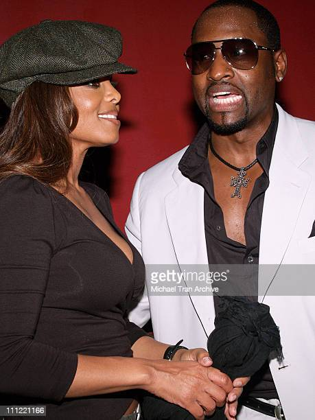 Janet Jackson and Johnny Gill of New Edition during Johnny Gill's 40th Birthday Celebration Inside at BB King's Blues Club at Universal Citywalk in...