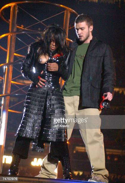 Janet Jackson and Justin Timberlake at the Super Bowl XXXVIII Halftime Show at Reliant Stadium in Houston Texas