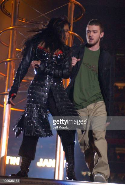 Janet Jackson and Justin Timberlake during Super Bowl XXXVIII Halftime Show at Reliant Stadium in Houston Texas United States