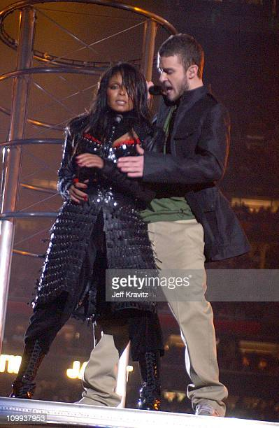 Janet Jackson and Justin Timberlake during Super Bowl XXXVIII Halftime Show at Reliant Stadium in Houston, Texas, United States.
