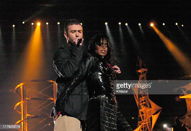 Janet Jackson and Justin Timberlake during The AOL TopSpeed Super Bowl XXXVIII Halftime Show Produced by MTV at Reliant Stadium in Houston Texas...