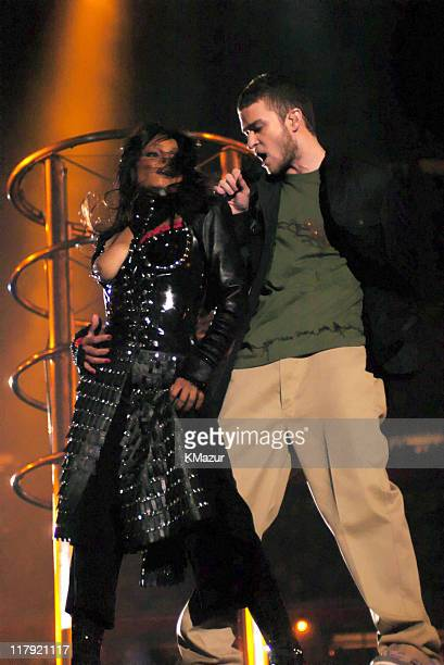 Janet Jackson and Justin Timberlake performs during the half time show at Super Bowl XXXVIII