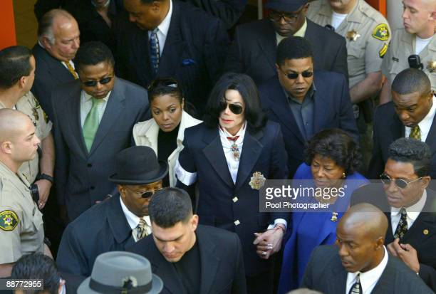 Janet Jackson and Michael Jackson exit the Santa Maria Court House following Michael Jackson's arraignment on child molestation charges January 16...