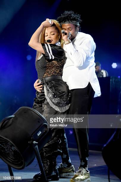 Janet Jackson and QTip perform onstage during the 2018 Global Citizen Festival Be The Generation in Central Park on September 29 2018 in New York City