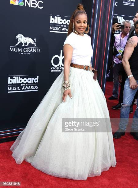 Janet Jackson arrives at the 2018 Billboard Music Awards at MGM Grand Garden Arena on May 20 2018 in Las Vegas Nevada