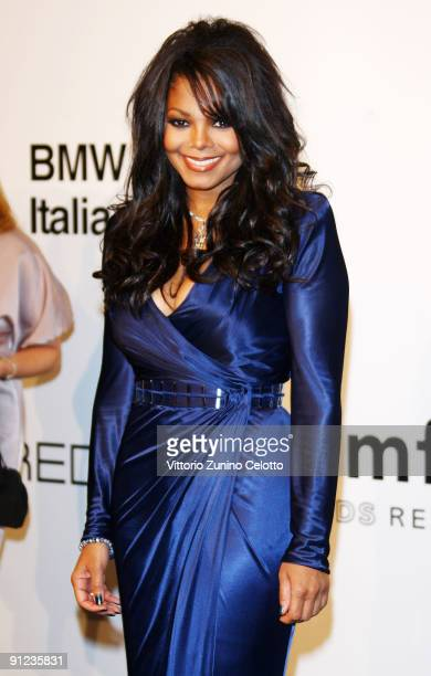 Janet Jackson attends amfAR Milano 2009 red carpet the Inaugural Milan Fashion Week event at La Permanente on September 28 2009 in Milan Italy