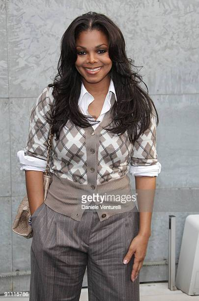 Janet Jackson attends the Giorgio Armani Fashion Show as part of the Milan Womenswear Fashion Week Spring/Summer 2010 at the Milano Fashion Center on...