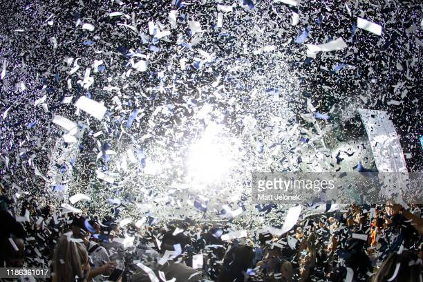 Janet Jackson concludes her performance with confetti on stage during RNB Fridays Live 2019 at HBF Park on November 8, 2019 in Perth, Australia.