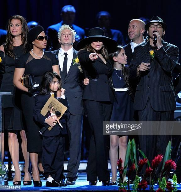 Janet Jackson left Prince Michael Jackson II La Toya Jackson center and Paris Jackson sing at the Michael Jackson public memorial service held at...