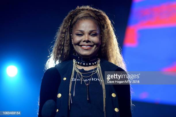 Janet Jackson on stage during the MTV EMAs 2018 at the Bilbao Exhibition Centre on November 04, 2018 in Bilbao, Spain.