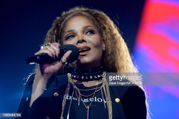 Janet Jackson on stage during the MTV EMAs 2018 at the Bilbao Exhibition Centre on November 04 2018 in Bilbao Spain