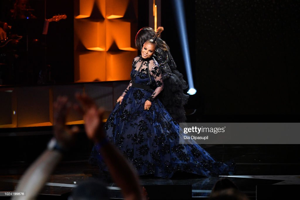 Janet Jackson onstage during the Black Girls Rock! 2018 Show at NJPAC on August 26, 2018 in Newark, New Jersey.