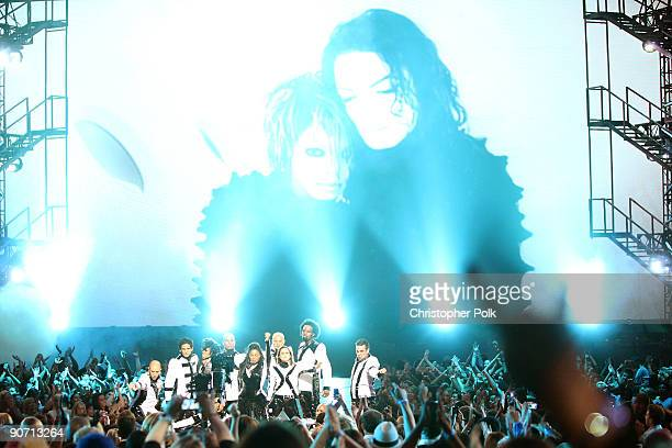 Janet Jackson performs a tribute to her brother Michael Jackson onstage during the 2009 MTV Video Music Awards at Radio City Music Hall on September...