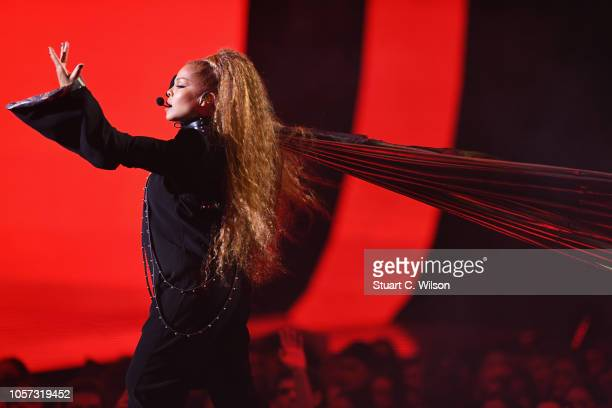 Janet Jackson performs on stage during the MTV EMAs 2018 at Bilbao Exhibition Centre on November 4, 2018 in Bilbao, Spain.