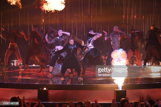 Janet Jackson performs on stage during the MTV EMAs 2018 at Bilbao Exhibition Centre on November 4 2018 in Bilbao Spain