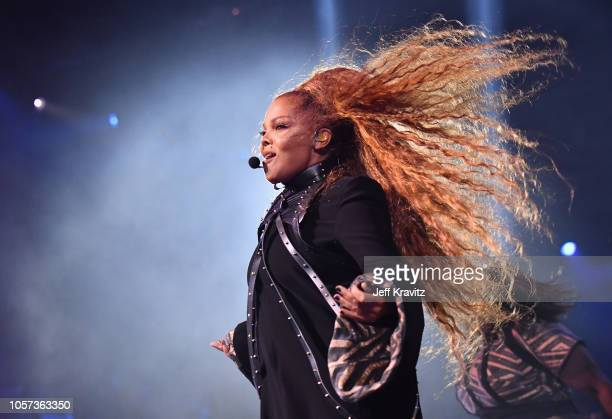 Janet Jackson performs on stage during the MTV EMAs 2018 on November 4, 2018 in Bilbao, Spain.