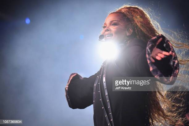 Janet Jackson performs on stage during the MTV EMAs 2018 on November 4 2018 in Bilbao Spain